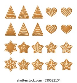 Gingerbread hearts, stars and trees collection. Vector illustration
