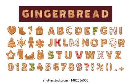 Gingerbread holidays cookies font alphabet, Christmas or New Year winter food. Figures decorated glazed sugar, arabic number and sign. Cookies gift box, heart, house, mitten, tree vector illustration