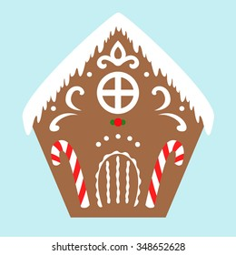 Gingerbread house with christmas candies, vector illustration