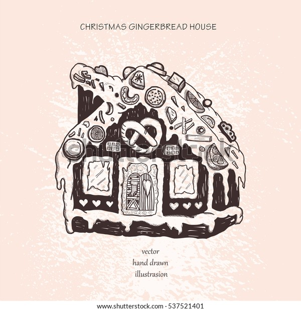 Christmas Gingerbread House Drawing.Gingerbread House Christmas New Years Feast Stock Vector