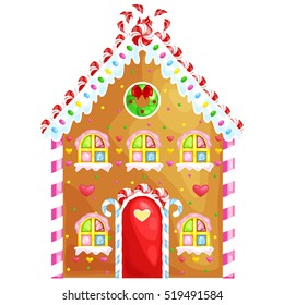 gingerbread house decorated candy icing and sugar.christmas cookies, traditional winter holiday xmas homemade baked sweet food vector illustration