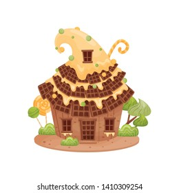 Gingerbread house with a high roof of waffles. Vector illustration on white background.