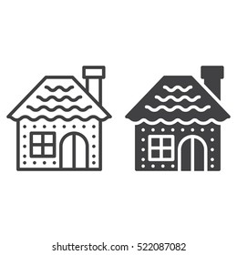 Gingerbread house line icon, outline and filled vector sign, linear and full pictogram isolated on white, logo illustration