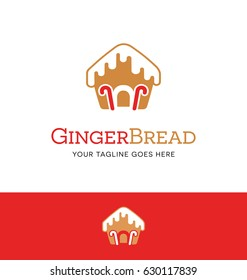 gingerbread house logo with icing and candy canes.  Vector Icon.