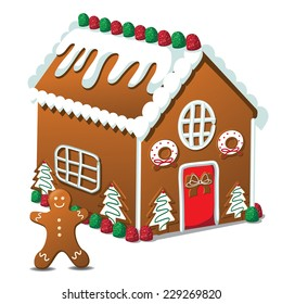 Gingerbread house and gingerbread man EPS 10 vector