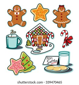 Gingerbread house, man, woman, hot chocolate, cookies for santa illustration set