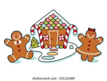 Gingerbread house, man, and woman illustration