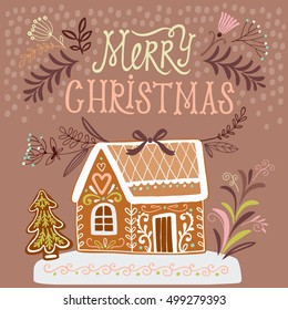 Gingerbread house. Merry Christmas greeting card design with gingerbread house