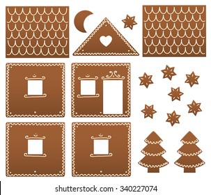 Gingerbread House Model Gingerbread house components in order to be build up. Isolated vector illustration on white background.