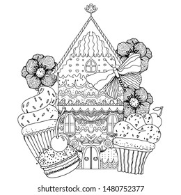 Gingerbread house with sweets, flowers and berries. Black and white illustration. Coloring for adults and children. Vector illustration.