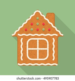 Gingerbread house, traditional Christmas cookie, vector eps10 illustration