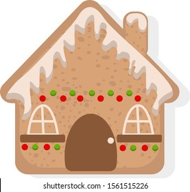 Gingerbread house vector. Christmas cookies illustration.