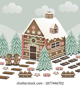 gingerbread house vector for Christmas Day