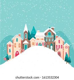 Gingerbread house. Winter illustration.  Vector illustration of a city in winter. Vector illustration of a gingerbread hous. Christmas card vector illustration.