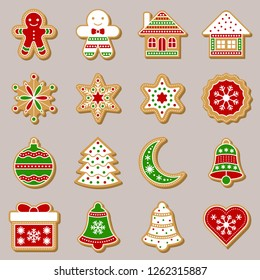 gingerbread icon for use as material in christmas color theme, flat design editable outline and detail