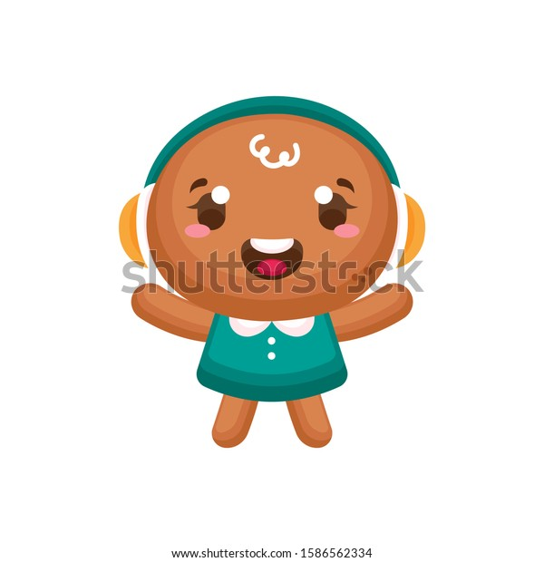 Gingerbread man. Gingerbread baby. Christmas baking decorated colored icing. Holiday biscuit cookies in shape of cute human. Vector illustration isolated on white background