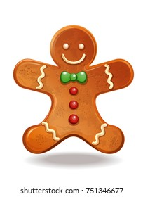 Gingerbread man. Christmas baking decorated colored icing. Holiday biscuit cookies in shape of cute human. Vector illustration isolated on white background