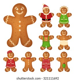 Gingerbread man. Christmas cookie holiday, sweet food, traditional biscuit, vector illustration