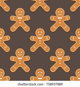 Gingerbread man. Christmas cookies. Seamless pattern Vector illustration