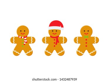 Gingerbread man. Christmas icon. Vector. Holiday winter symbols isolated on white background in flat design. Cartoon colorful illustration.