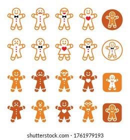 Gingerbread man Christmas icons set - Xmas baking, funny character. Vector brown icons set of gingerbread man, Xmas celebrtion isolated on white