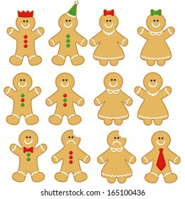 Gingerbread Man Clip-art Set. Gingerbread Man Clip Art. Gingerbread Clip-art.