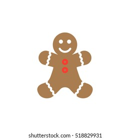 Gingerbread man cookie icon vector, filled flat sign, solid colorful pictogram isolated on white, logo illustration