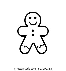 Gingerbread man cookie line icon