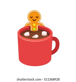 Gingerbread man cookie relaxing in hot chocolate cup with marshmallows on Christmas morning. Modern cute cartoon greeting card vector illustration.