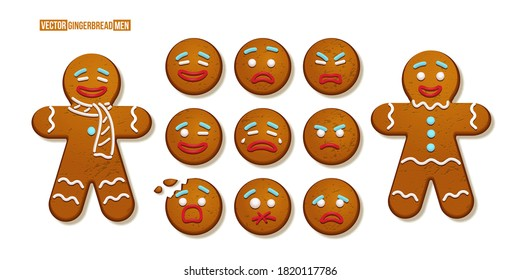 Gingerbread man cookies with different emotions set. Christmas holiday candy decoration vector illustration. Happy, cheerful, cute, sad, angry, funny faces. Traditional sweet xmas ginger biscuits.