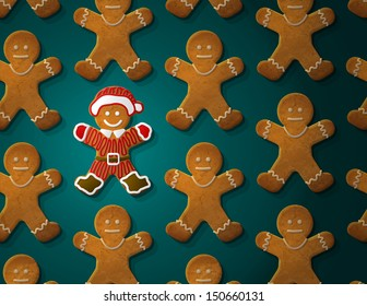 Gingerbread man is decorated in christmas suit. Concept with group of holiday cookies. Vector illustration for new year's day, christmas, winter holiday, cooking, new year's eve, food, silvester, etc