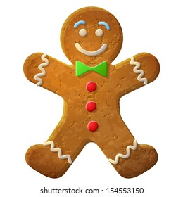 Gingerbread man decorated colored icing. Holiday cookie in shape of man. Qualitative vector illustration for new year's day, christmas, winter holiday, cooking, new year's eve, food, silvester, etc