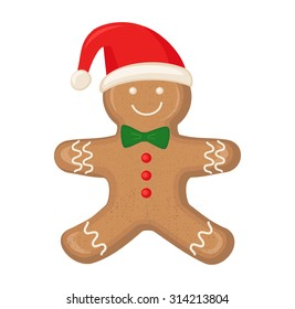 Gingerbread man is decorated colored icing isolated on white background. Cute vector card illustration with Gingerbread man for christmas, winter holiday, cooking, new year's eve, food, silvester.