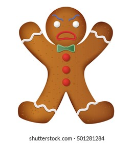 Gingerbread man decorated. Funny and angry. Vector illustration