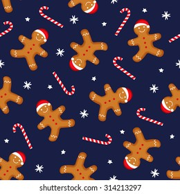 Gingerbread man is decorated in xmas hat and candy cane on dark blue background. Seamless vector pattern for new year's day, christmas, winter holiday, cooking, new year's eve. Cute xmas background.