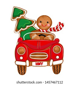 Gingerbread Man driver,  Christmas car and Christmas tree.Vector illustration of holiday baking. Christmas collection.