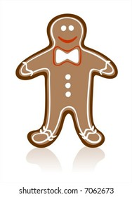Gingerbread man and his shadow on a white background.