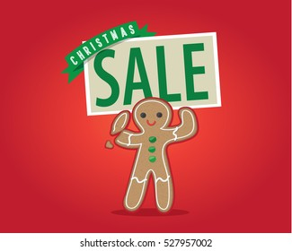 Gingerbread man holding a Christmas sale sign