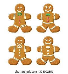 Gingerbread man holiday sweet cookie. Vector isolated illustration