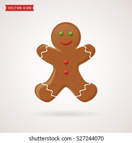 Gingerbread man icon. Christmas traditional symbol. Vector illustration.