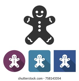 Gingerbread man icon in different variants with long shadow