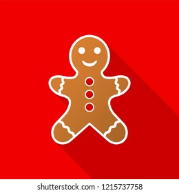 Gingerbread man icon with long shadow on red background. Vector Illustration EPS 10