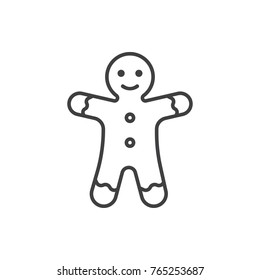 Gingerbread man line icon.