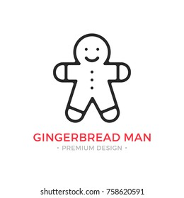 Gingerbread man line icon. Christmas cookie. Vector outline icon