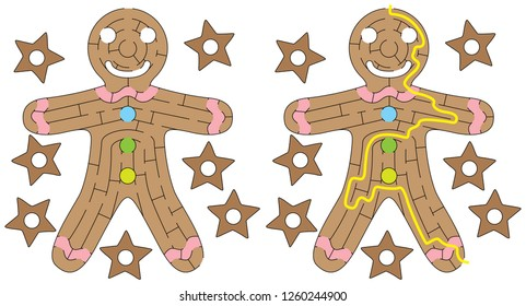 Gingerbread man maze for kids with a solution
