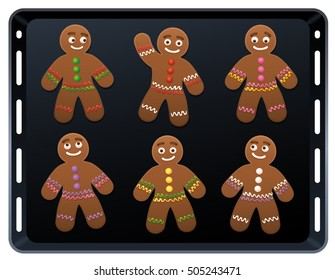 Gingerbread man on baking plate - cute and sweet christmas cookies.
