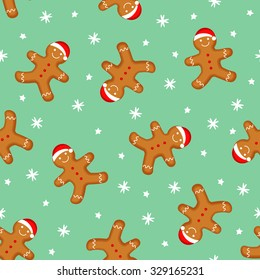 Gingerbread man seamless pattern. Cute vector background for new year's day, Christmas, winter holiday, cooking, new year's eve, food, etc. Cute Xmas background.