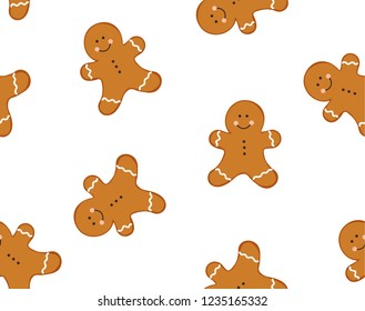 gingerbread man seamless pattern. isolated on white background