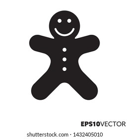 Gingerbread man solid black icon. Glyph symbol of pastry and christmas holidays. Sweet food flat vector illustration.