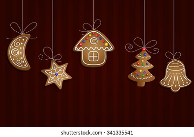 Gingerbread man tree bell half moon and stars with decorations Cristmas background